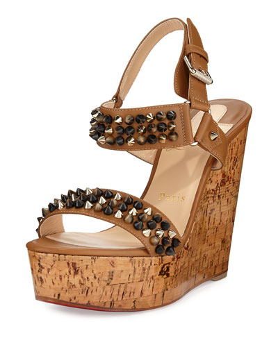 Bikee Bike Zeppa Cork Wedge Red Sole Sandal, Hazelnut/Popcorn