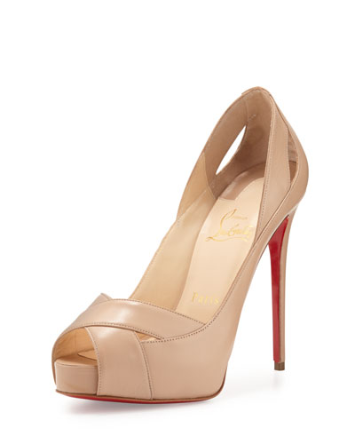 Academa Leather Cutout Red Sole Pump, Nude