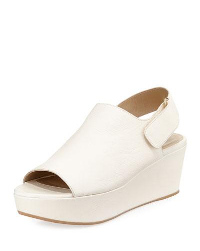 Offset Leather Wedge Sandal, Vanilla