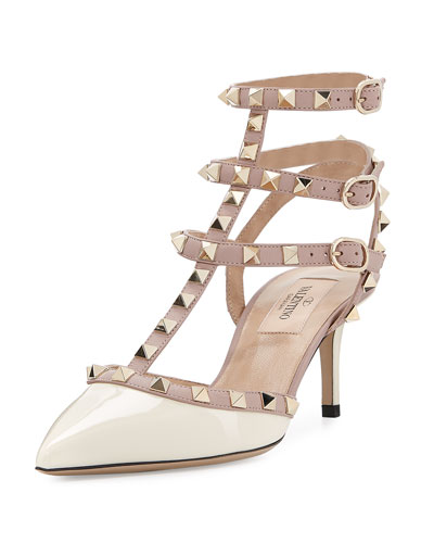 Rockstud Patent Leather Mid-Heel Slingback, Ivory/Poudre