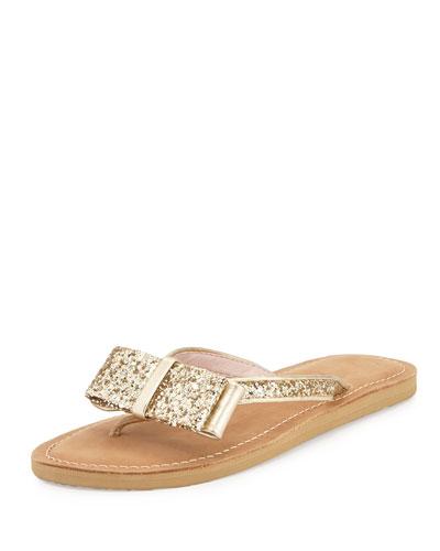 icarda glitter bow flat thong sandal, gold