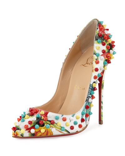 Follies Spiked Floral 120mm Red Sole Pump, White/Multi