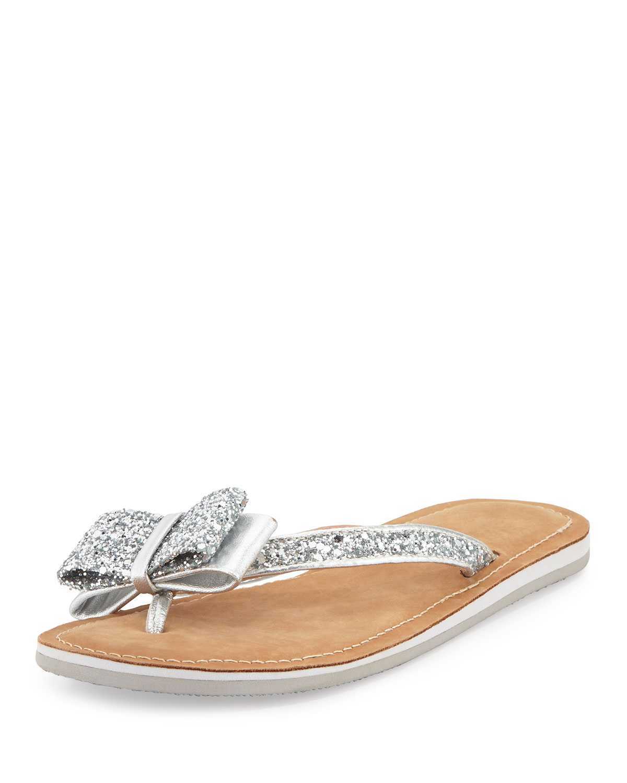 icarda glitter bow flat thong sandal, silver