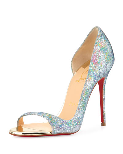 Toboggan Glitter 100mm Red Sole Pump, Multi/Light Gold
