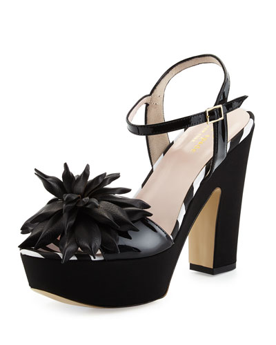 alerina too patent platform sandal, black