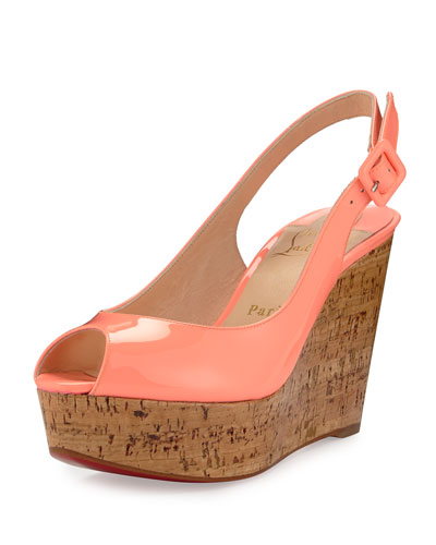 Une Plume Patent Peep-Toe Red Sole Wedge Sandal, Flamingo