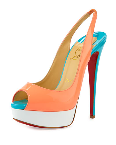 Lady Peep-Toe Slingback Red Sole Pump, Flamingo