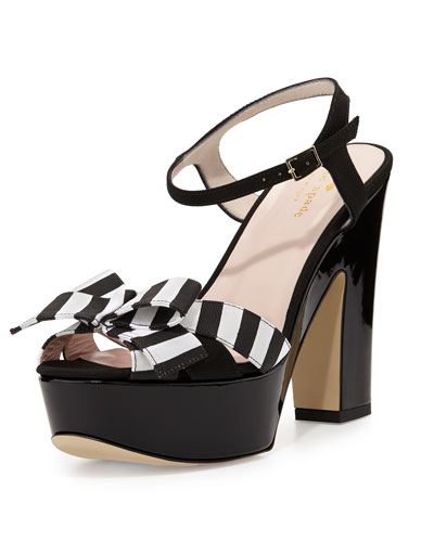 annie striped grosgrain platform sandal, black