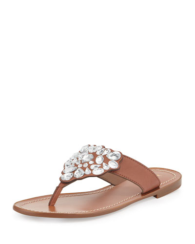 cora embellished flat thong sandal, new luggage