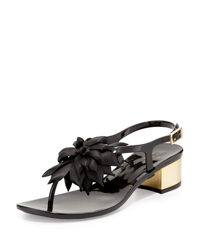 davina flower jelly thong sandal, black