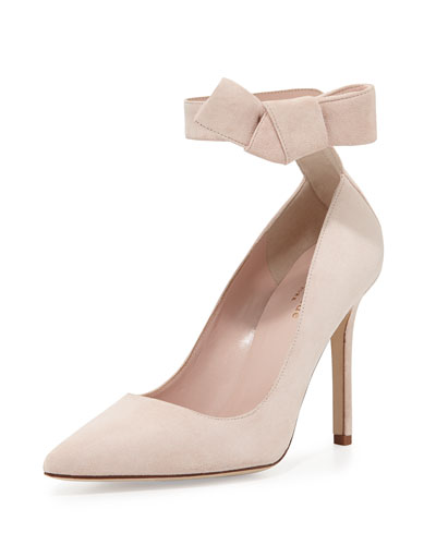 levie suede ankle-strap pump, pale blush