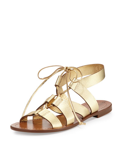 suno metallic lace-up flat sandal, gold