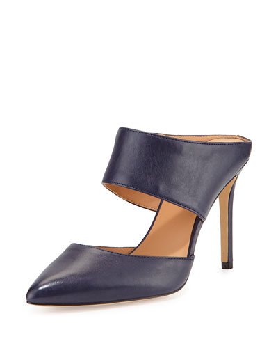 Isabella Leather Pointed-Toe Mule, Navy