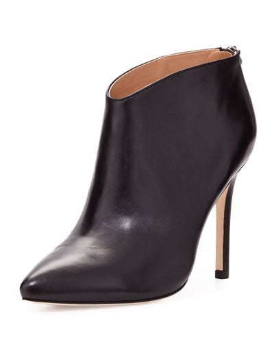 Karen Leather Ankle Boot, Black