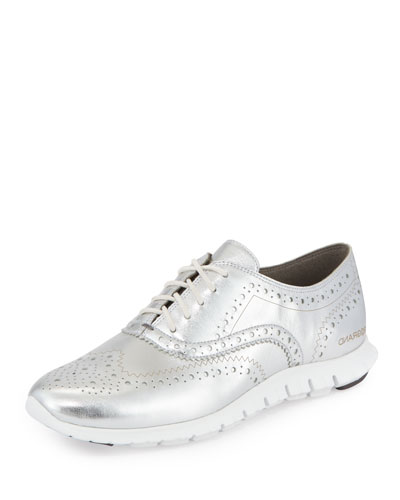 ZeroGrand™ Metallic Wing-Tip Oxford Sneaker, Argento/White