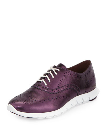 ZeroGrand™ Metallic Wing-Tip Oxford Sneaker, Elderberry/Optic White