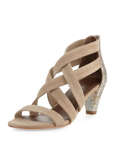 Vida Stretch-Suede Strappy Sandal, Natural