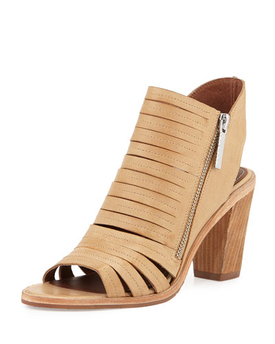 Kasia Strappy Open-Toe Bootie, Natural