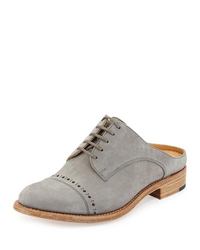 Mr. Winnie Suede Loafer Mule, Gray Cashmere