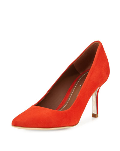 Treva Suede Pointed-Toe Pump, Coral