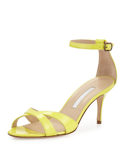 Callre Crisscross Patent 70mm Sandal, Yellow