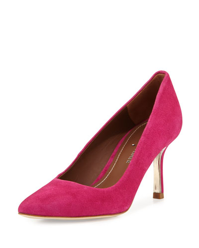 Treva Suede Pointed-Toe Pump, Magenta