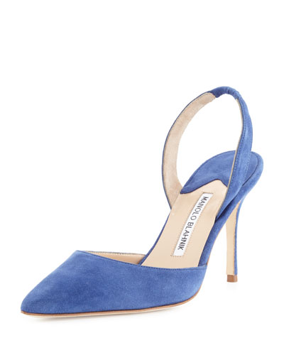Carolyne Gala High-Heel Suede Halter Pump, Denim Blue