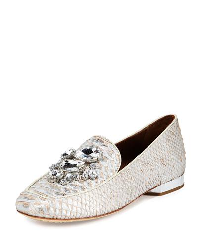 Helenesp Snake-Embossed Jeweled Loafer, Silver