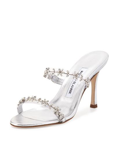 Diora Floral-Crystal Slide Sandal, Silver