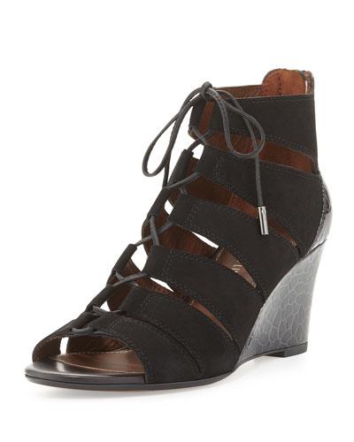 Jeisa Lace-Up Wedge Sandal, Black