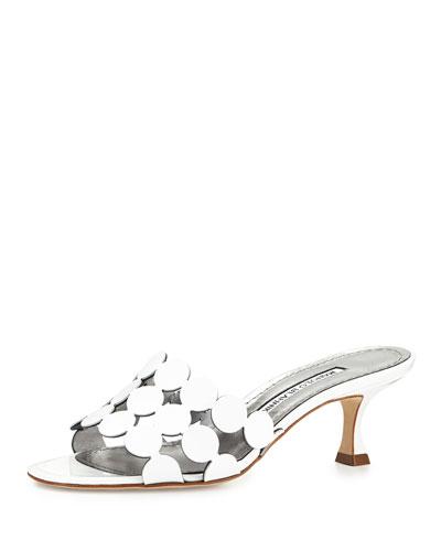 Velia Circle Slide Sandal, White