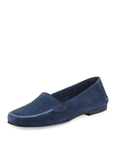 Speed Suede Moccasin Flat, Capri Blue