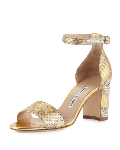 Lauratomod Snakeskin Ankle-Wrap Sandal, Gold