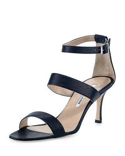Kaotic Triple-Strap Sandal, Navy