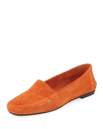 Speed Suede Moccasin Flat, Legno Orange