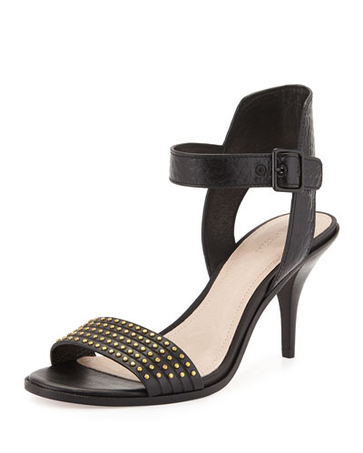 Mya Studded Ankle-Wrap Sandal, Black