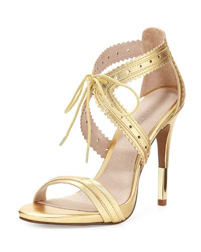 Shanna Crisscross Leather Sandal, Gold