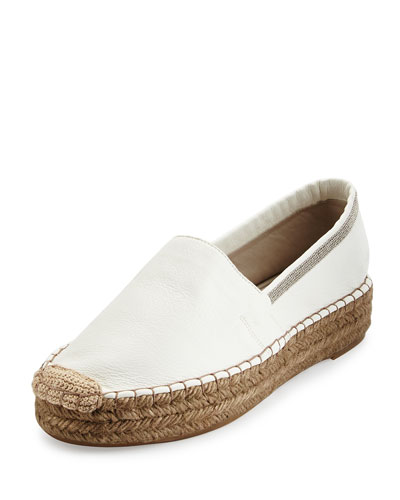 Monili-Trim Leather Espadrille Flat, Desert
