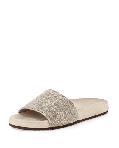 Monili One-Band Flat Sandal Slide, Desert