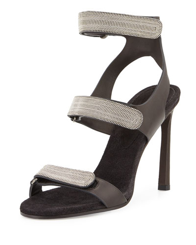 Monili Triple-Strap High-Heel Sandal, Onyx