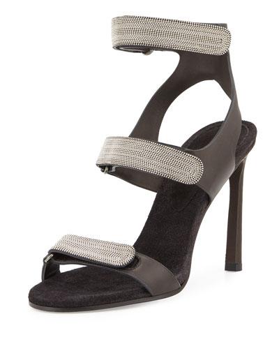 Monili Triple-Strap High-Heel Sandal, Onyx