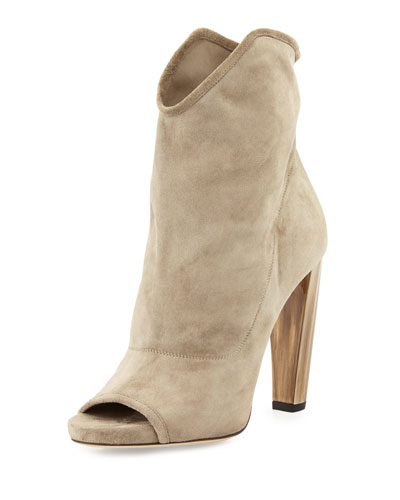 Maja 110mm Suede Open-Toe Bootie, Light Khaki