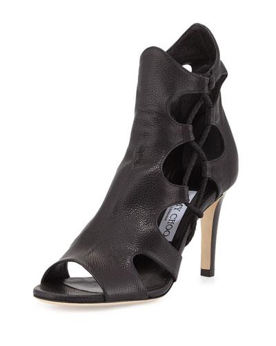 Lucky 85mm Leather Cutout Sandal, Black