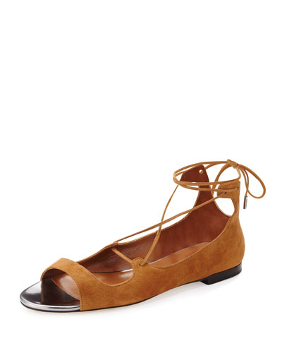 Vernie Flat Suede Lace-Up Sandal, Canyon/Steel