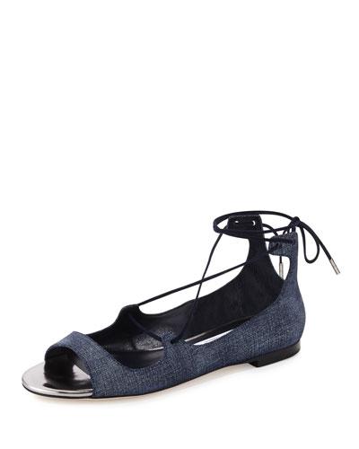 Vernie Flat Leather Lace-Up Sandal, Light Indigo/Steel