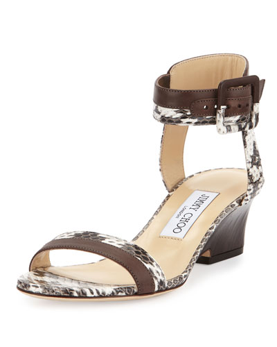 Mansy 50mm Snakeskin Ankle-Wrap Sandal, Natural/Pecan