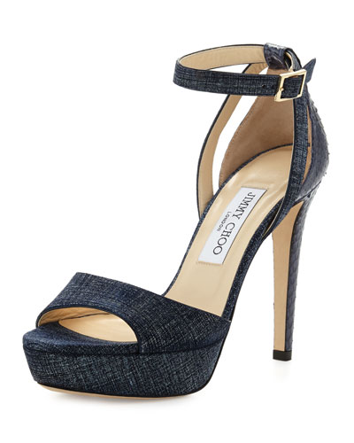 Kayden Leather Ankle-Wrap Sandal, Light Indigo/Navy