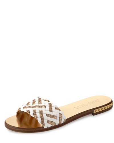 Weave Studded Slide Sandal, Latte/Gold