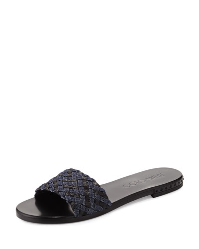 Weave Studded Slide Sandal, Indigo/Black