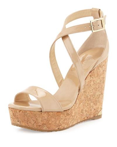 Portia Crisscross Platform Wedge Sandal, Nude